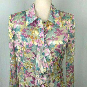 Clara Sun Woo Silk Blend Blouse XS Sheer Flocked